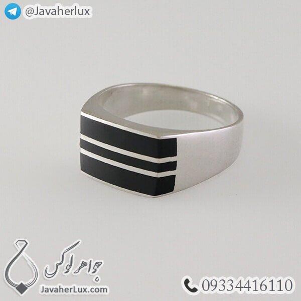 انگشتر نقره مردانه عقیق سیاه مدل زین _ کد : 100335