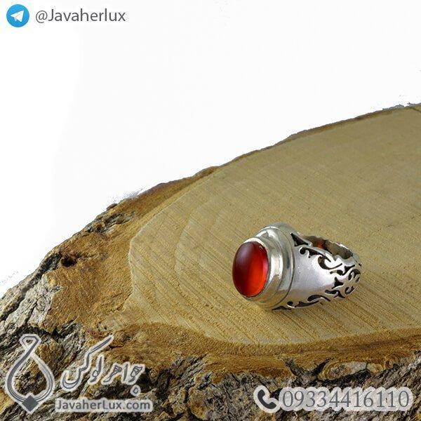 انگشتر نقره مردانه عقیق خراسانی مدل ادیان _ کد : 100370