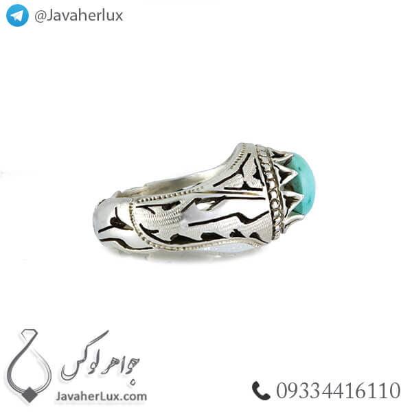 انگشتر نقره مردانه فیروزه نیشابوری مدل ارتا _ کد : 100375