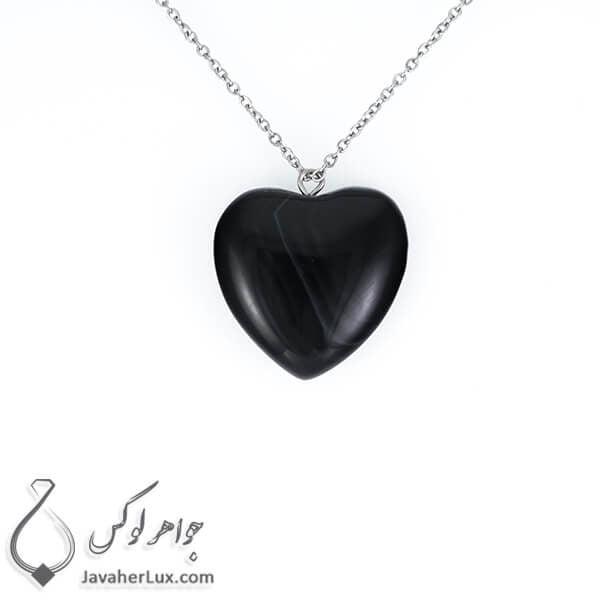 گردنبند سنگ عقیق سیاه تراش قلب _ کد : 400212