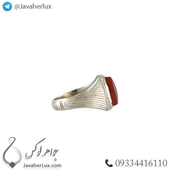 انگشتر نقره مردانه عقیق یمنی مدل ارژن _ کد : 100378