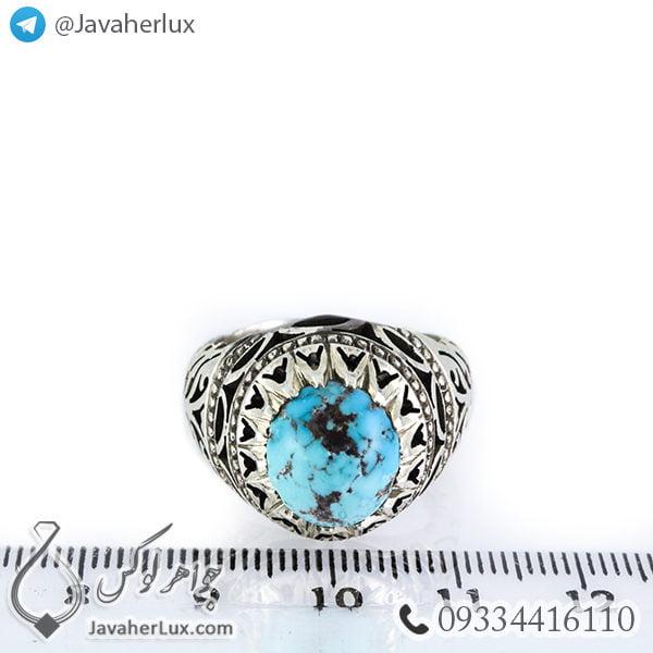 انگشتر نقره مردانه فیروزه نیشابوری مدل ارسیا _ کد : 100379
