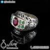 انگشتر نقره مردانه زمرد و یاقوت سرخ _ کد : 100405