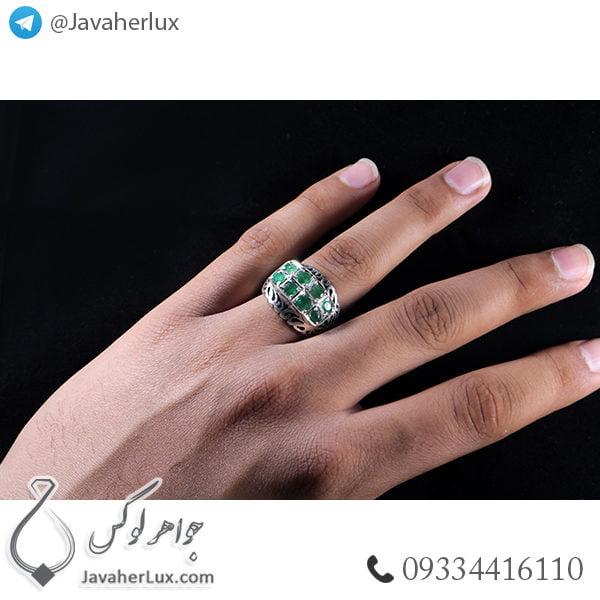 انگشتر نقره زمرد _ کد : 100407