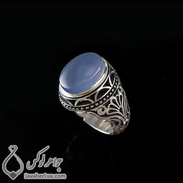 انگشتر نقره مردانه عقیق یمنی کبود _ کد : 100409