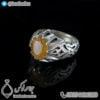 انگشتر نقره مردانه یاقوت زرد مدل ایزدبد _ کد : 100410