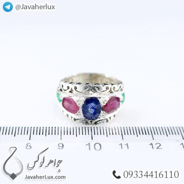 انگشتر نقره مردانه چند جواهر مدل باژه _ کد : 100420