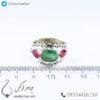 انگشتر نقره مردانه چند جواهر مدل باگه _ کد : 100421