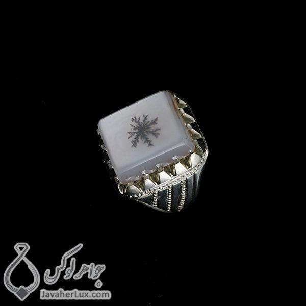 انگشتر نقره مردانه عقیق شجر مدل باهک _ کد : 100423