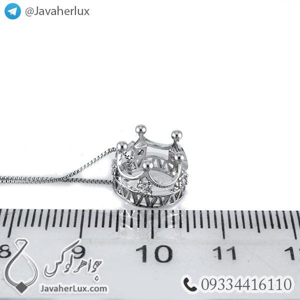 گردنبند تاج پادشاهی نقره ای _ کد : 200277