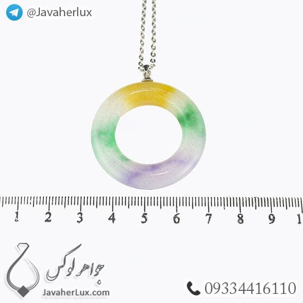 گردنبند سنگ جید رنگین کمانی مدل بندوی _ کد : 400264
