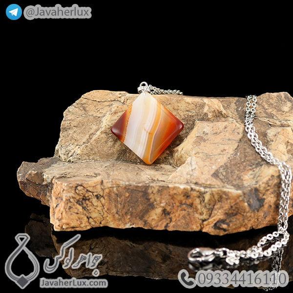 گردنبند سنگ عقیق مدل برسام _ کد : 400272