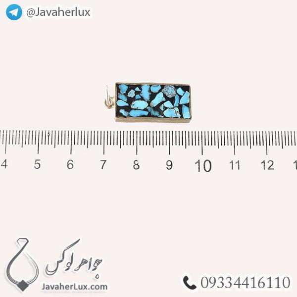 گردنبند نقره زنانه فیروزه کوب نیشابوری پساک _ کد : 100442