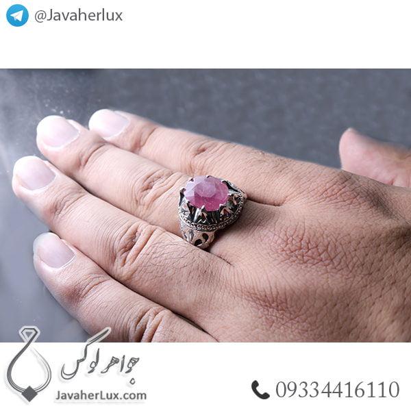 انگشتر نقره مردانه یاقوت سرخ مدل پوریار _ کد : 100445