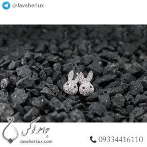 گوشواره زنانه طرح خرگوش جواهر نشان _ کد : 200280