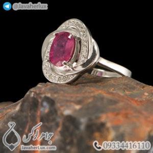 انگشتر نقره زنانه یاقوت سرخ مدل حام _ کد : 100464