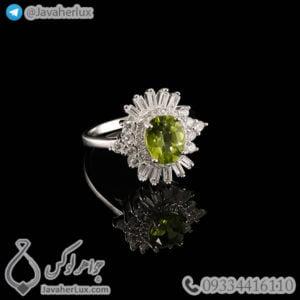 انگشتر نقره زنانه زبرجد مدل حامین _ کد : 100465