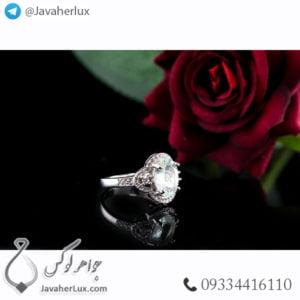 انگشتر نقره زنانه آکوامارین _ کد : 100466