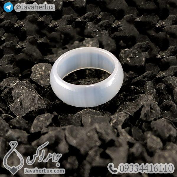 حلقه سنگ عقیق سفید مدل چکاد _ کد : 400358
