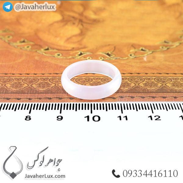 حلقه سنگ عقیق سفید مدل حبان _ کد : 400366