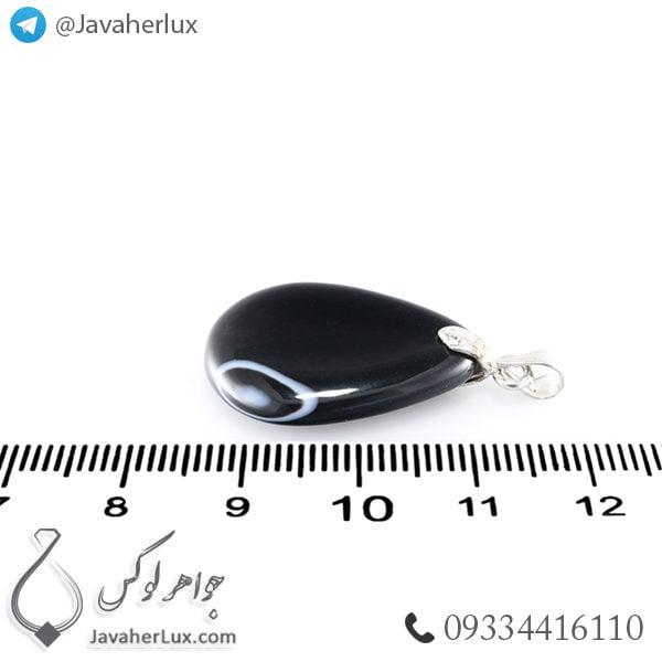 گردنبند سنگ عقیق سیاه _ کد : 400372