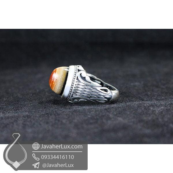انگشتر نقره عقیق سه پوسته _ کد : 100495 - جواهر لوکس