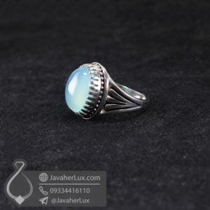 انگشتر نقره مردانه عقیق آبی _ کد : 100506