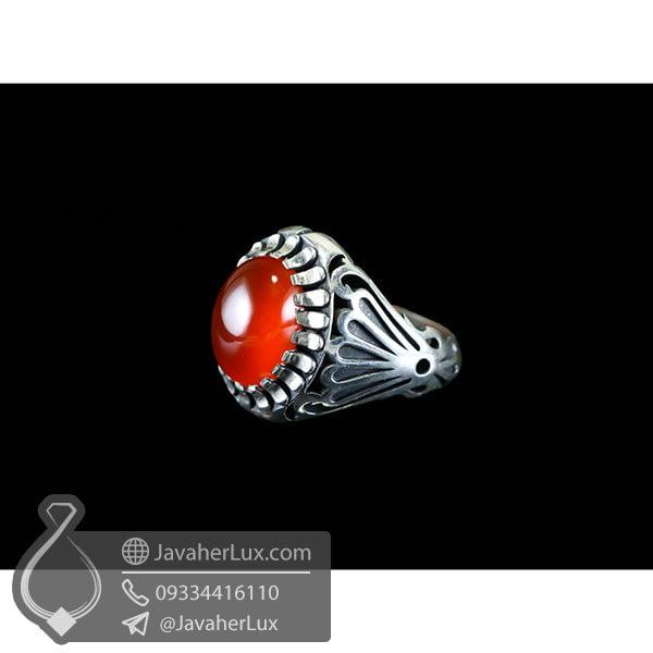 انگشتر نقره مردانه عقیق قرمز مدل رغمان _ کد : 100510