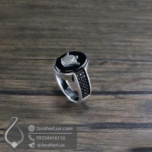 انگشتر نقره مردانه عقیق سیاه تاج پادشاهی _ کد : 100512