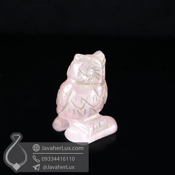 مجسمه جغد سنگ رز کوارتز _ کد : 400414