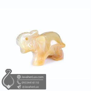 مجسمه سنگ عقیق سلیمانی تراش فیل _ کد : 400428