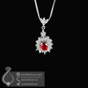 گردنبند نقره زنانه طرح یاقوت قرمز _ کد : 100546