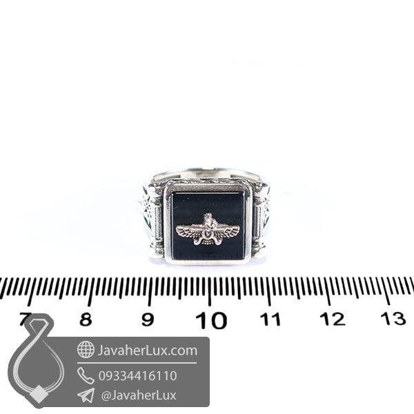 انگشتر اسپرت عقیق سیاه فروهر _ کد : 100549