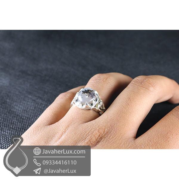 انگشتر نقره مردانه عقیق شجر مدل زراوه _ کد : 100550