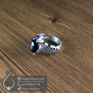 انگشتر نقره مردانه عقیق سیاه مدل ژافه _ کد : 100562
