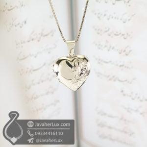 گردنبند نقره قاب عکسی طرح قلب _ کد : 100574