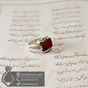 انگشتر نقره مردانه عقیق قرمز مدل طرحان _ کد : 100575