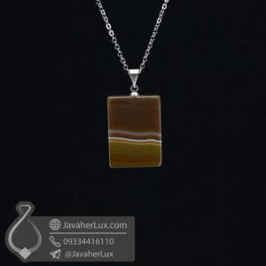 گردنبند سنگ عقیق سلیمانی مدل طورگ _ کد : 400506