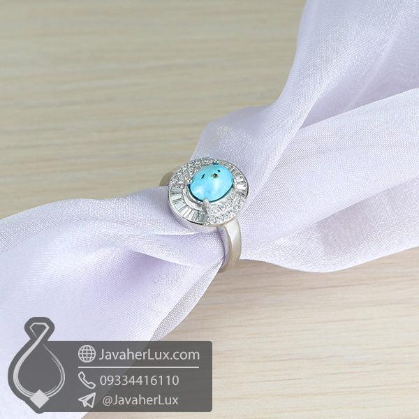 انگشتر نقره زنانه فیروزه نیشابوری مدل فرناک _ کد : 100599