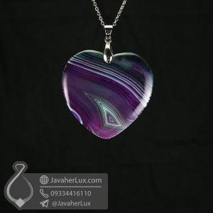 گردنبند عقیق سلیمانی تراش قلب _ کد : 400565