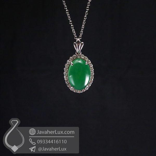 گردنبند نقره زنانه عقیق سبز _ کد : 100651