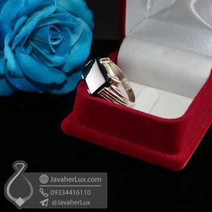 انگشتر نقره مردانه عقیق سیاه _ کد : 100680