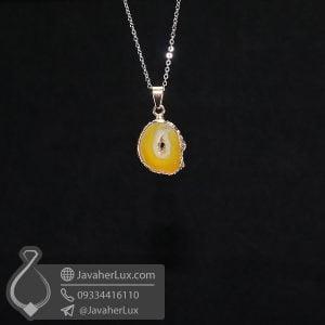 گردنبند ژئود عقیق زرد مدل حوانا _ کد : 400609
