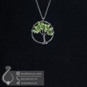 گردنبند سنگ زبرجد درخت زندگی کوچک _ کد: 400610