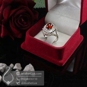انگشتر نقره زنانه نگین گارنت _ کد : 100691