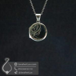 گردنبند نقره قاب عکسی گرد _ کد : 100694