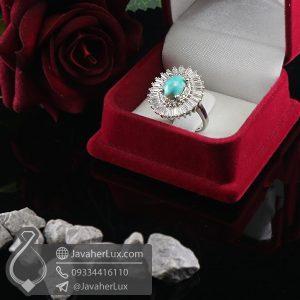 انگشتر نقره زنانه نگین فیروزه نیشابوری _ کد : 100698