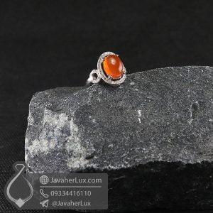 انگشتر نقره زنانه نگین عقیق یمنی _ کد : 100702