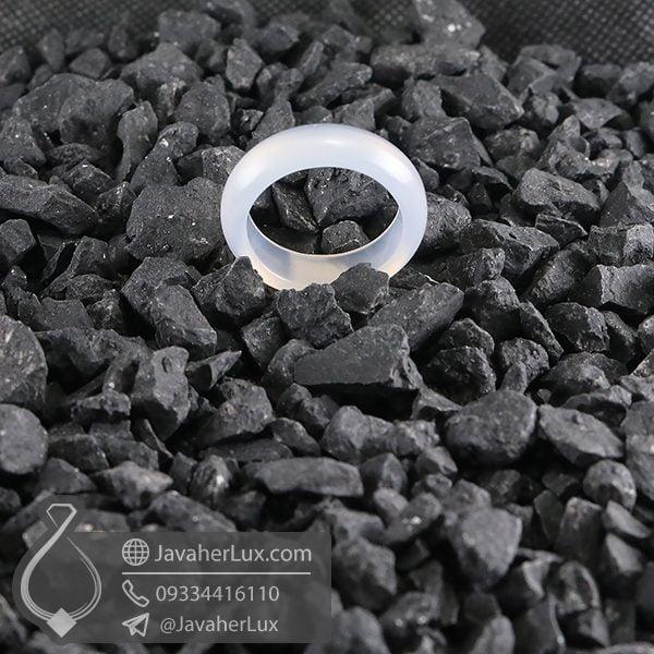 حلقه سنگ عقیق سفید _ کد : 400648
