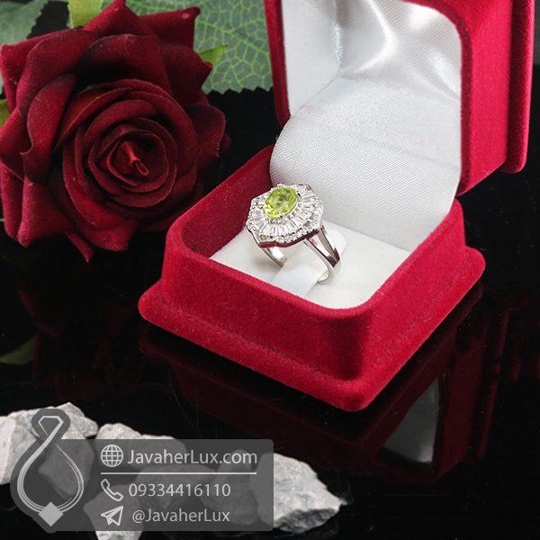 انگشتر نقره زنانه زبرجد مدل تانیاژ _ کد : 100705